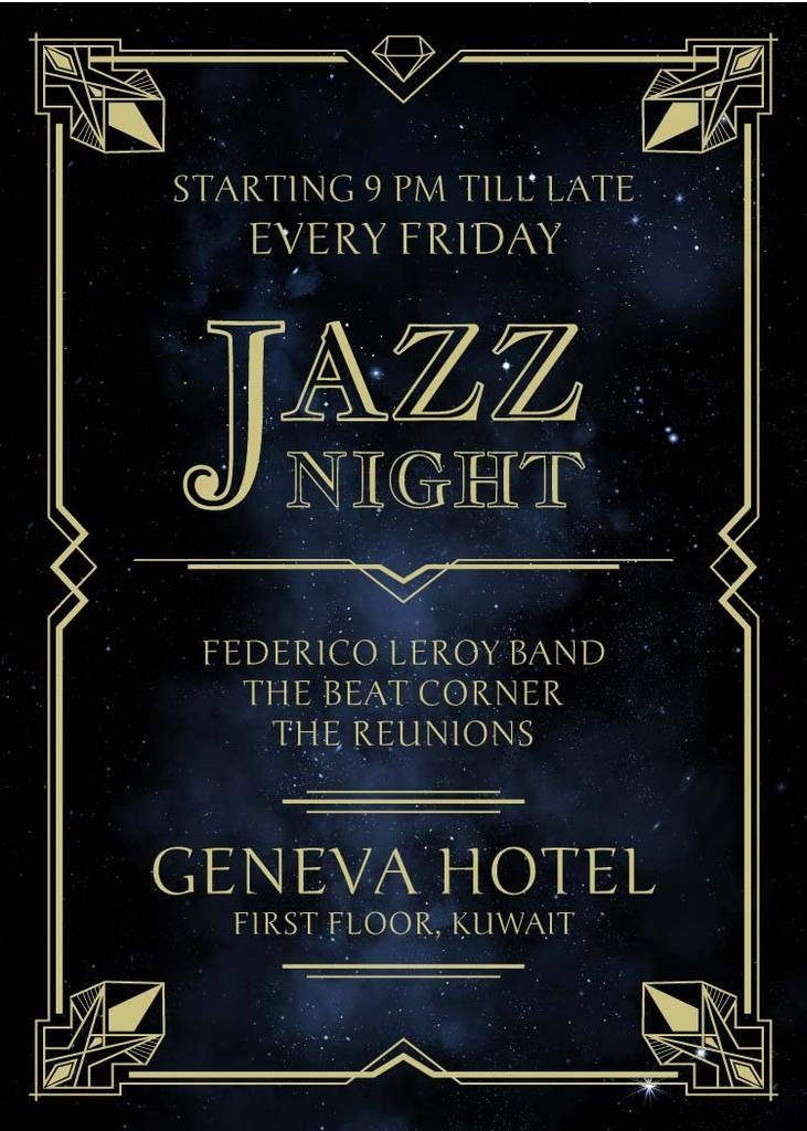 Jazz Night Invitation on Night Sky — Créer un visuel