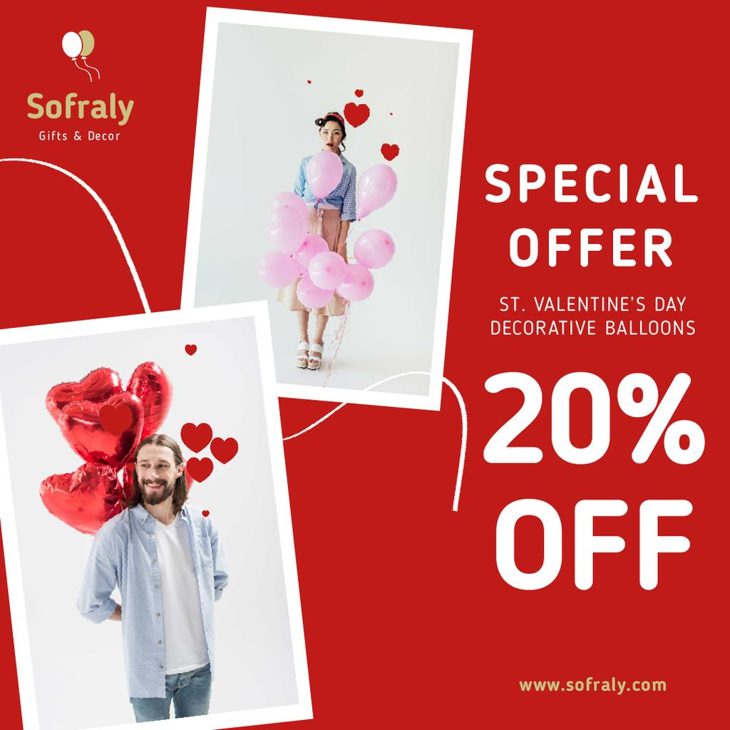 Valentine's Day Decorative Balloons Sale in Red — Maak een ontwerp