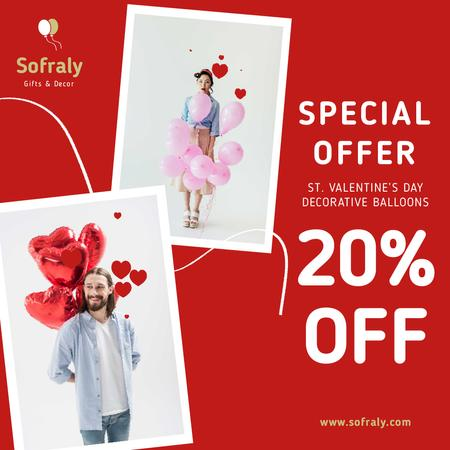 Plantilla de diseño de Valentine's Day Decorative Balloons Sale in Red Animated Post