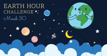 Earth hour with Cute Planets Facebook ADデザインテンプレート