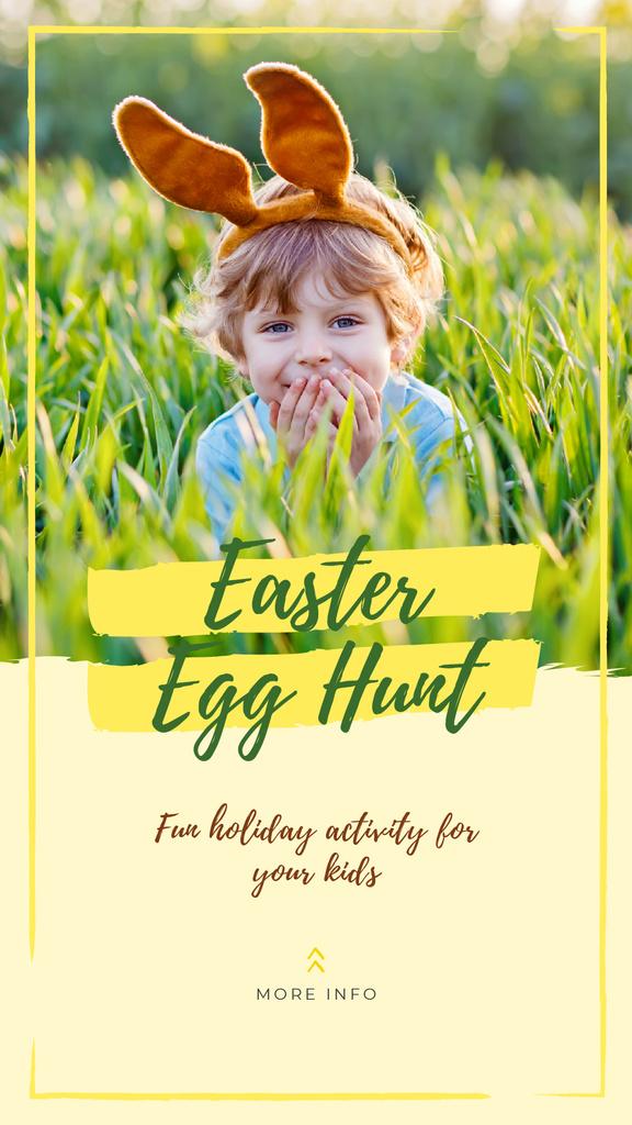 Child wearing bunny ears on Easter — Crea un design