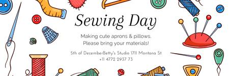 Sewing day event  Twitter Design Template