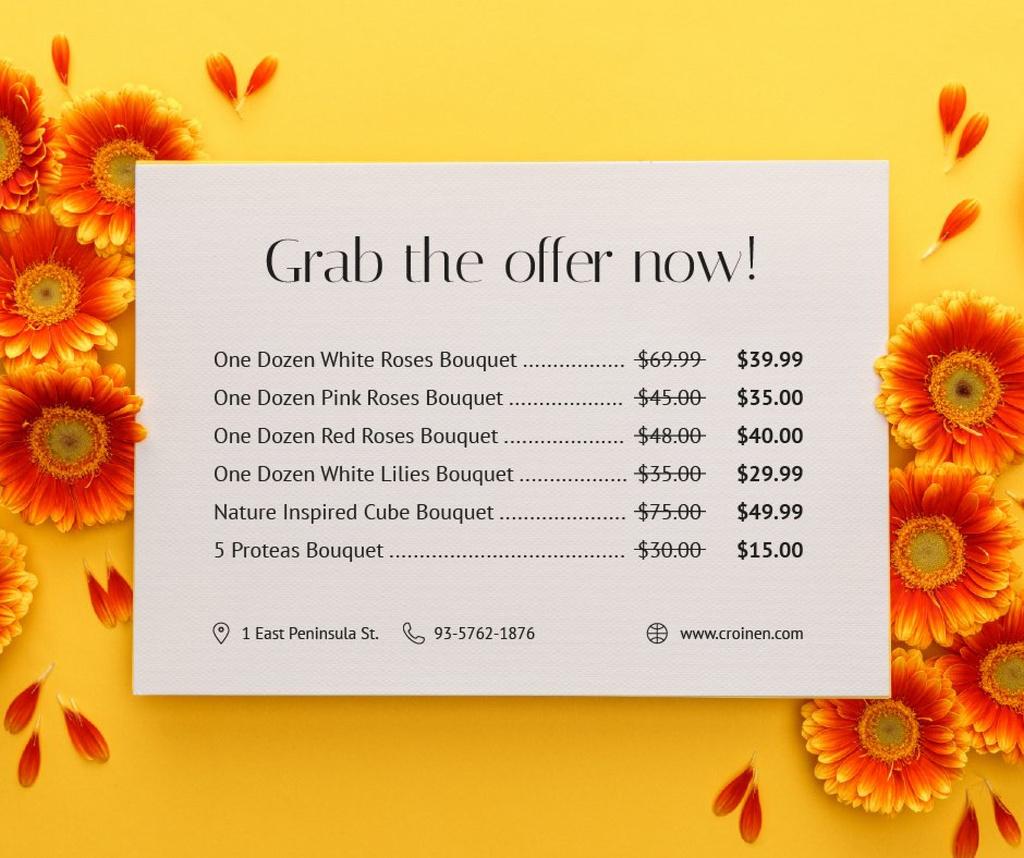 Plantilla de diseño de Flower Bouquets Sale Gerberas Frame Facebook