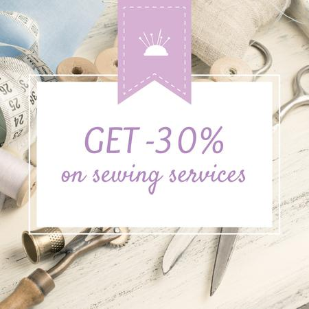 Plantilla de diseño de Sewing Services ad with Tools and Threads in White Instagram AD