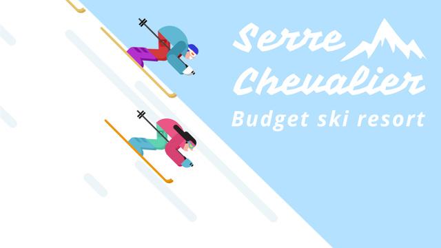 Plantilla de diseño de Ski Resort Skiers on a Snowy Slope Full HD video
