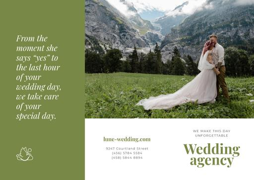 Wedding Agency Ad With Happy Newlyweds In Majestic Mountains Brochure