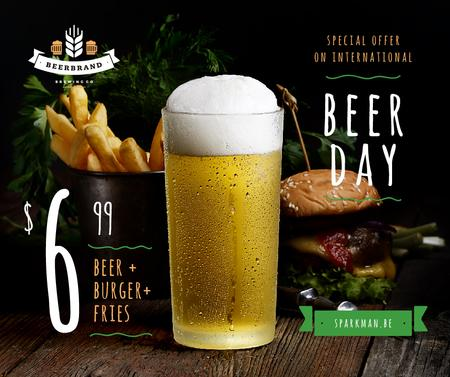 Ontwerpsjabloon van Facebook van Beer Day Offer Glass and Snacks