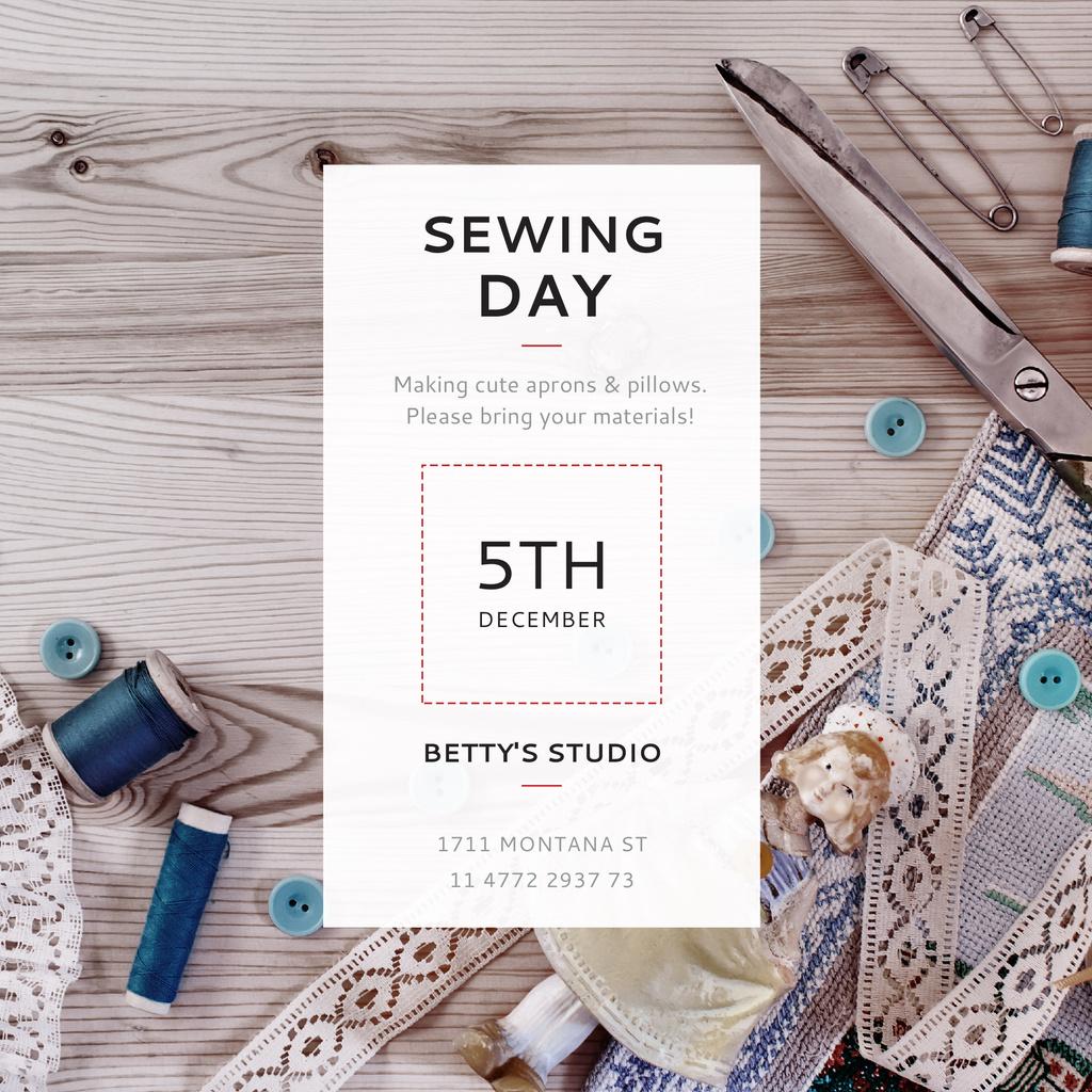 Sewing day event with needlework tools — Maak een ontwerp