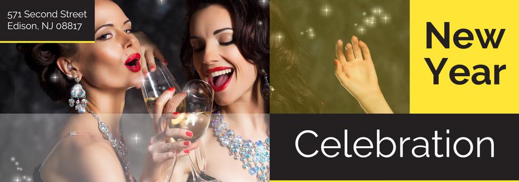 New Year Party Invitation Women Celebrating — Crea un design