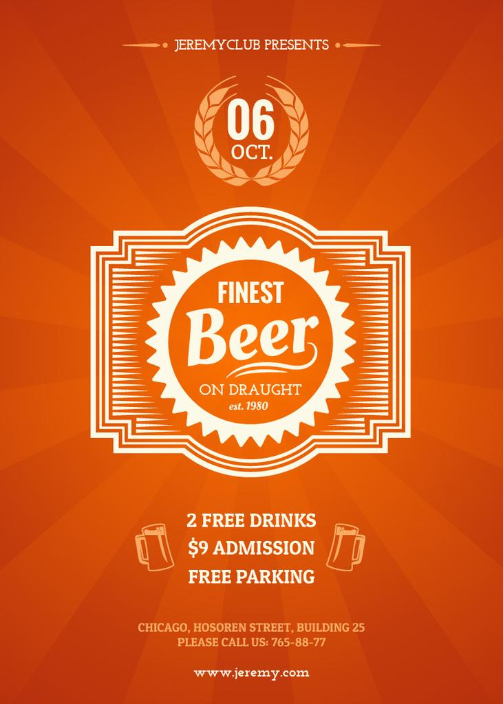 Finest beer pub ad in orange — ein Design erstellen