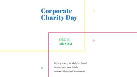 Corporate Charity Day on simple lines Title Modelo de Design