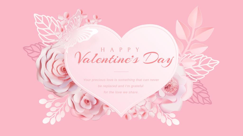Pink heart with flowers — Créer un visuel