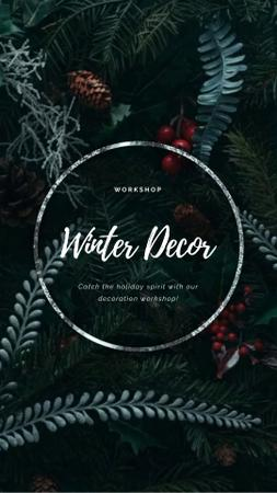 Christmas Decoration Wreath with Cones and Berries Instagram Video Storyデザインテンプレート