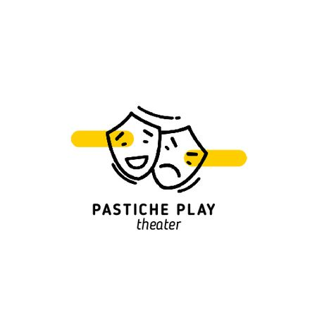 Play Announcement with Theatrical Masks Animated Logo Modelo de Design
