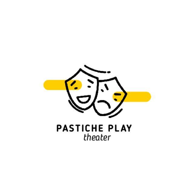 Designvorlage Play Announcement with Theatrical Masks für Animated Logo