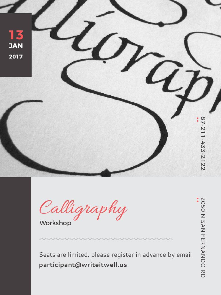 Calligraphy Workshop Announcement Decorative Letters — Create a Design