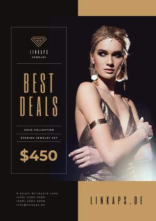 Designvorlage Jewelry Sale with Woman in Golden Accessories für Poster