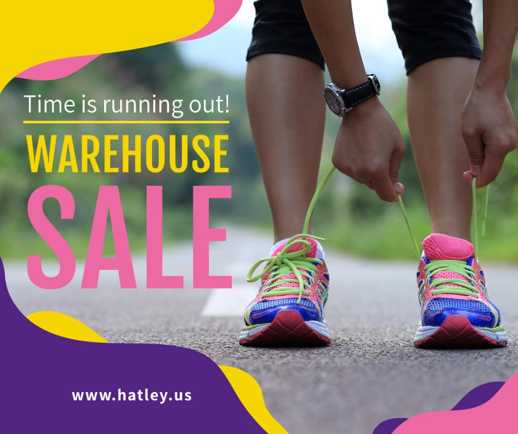 Shoes Sale Runner tying shoelaces — Crear un diseño