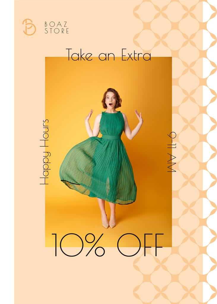 Clothes Shop Happy Hour Offer Woman in Green Dress — Создать дизайн