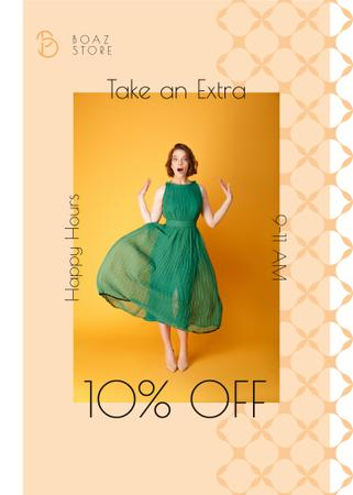 Ontwerpsjabloon van Flayer van Clothes Shop Happy Hour Offer Woman in Green Dress