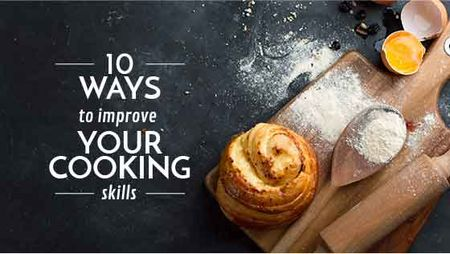 Ontwerpsjabloon van Title van Cooking Skills courses with baked bun