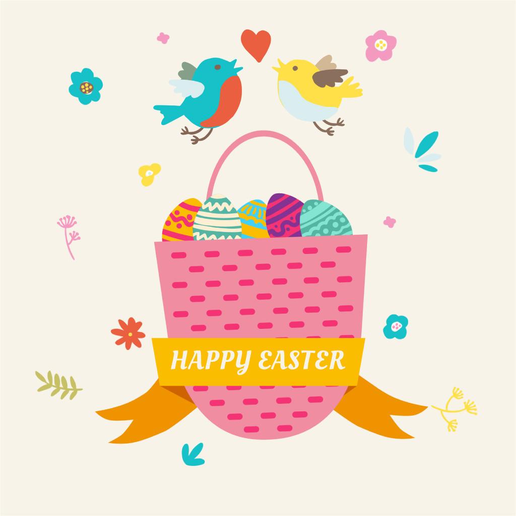 Birds by basket with colored eggs — Modelo de projeto
