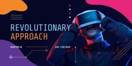 Plantilla de diseño de Man using vr glasses Twitter