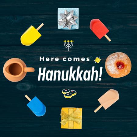 Happy Hanukah attributes Animated Post Modelo de Design