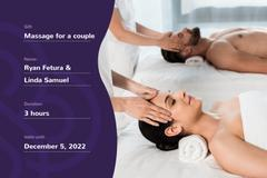 Spa Center Offer with Woman and Man at Massage