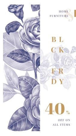 Template di design Black Friday Sale Flowers illustration in contour Instagram Story