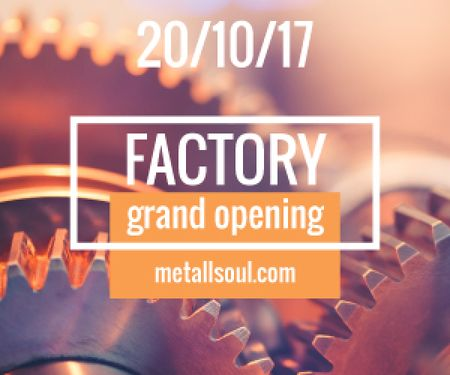 Factory Opening Announcement Mechanism Cogwheels Medium Rectangle Tasarım Şablonu