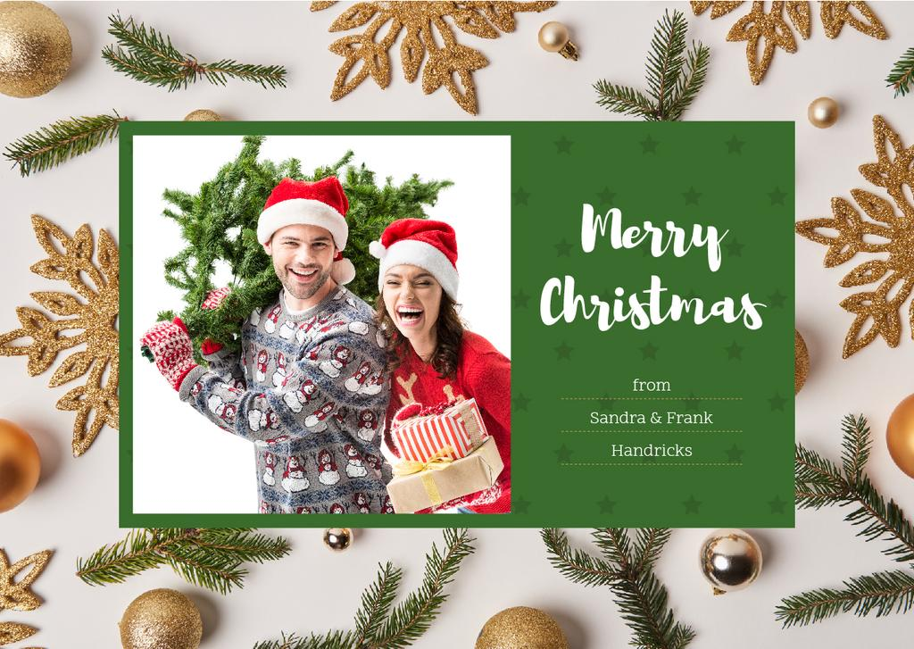 Merry Christmas Greeting Couple with Fir Tree - Bir Tasarım Oluşturun