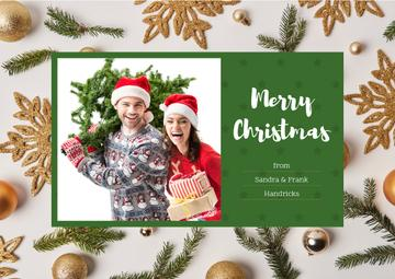 Merry Christmas Greeting Couple with Fir Tree