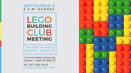 Plantilla de diseño de Lego Building Club meeting Constructor Bricks Title