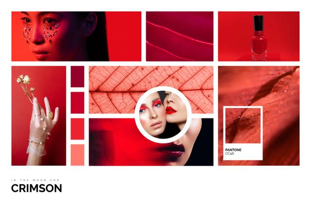 Modèle de visuel Creative Makeup inspiration in Red - Mood Board