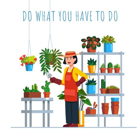 Plantilla de diseño de Florist watering Flowers and Succulents Animated Post