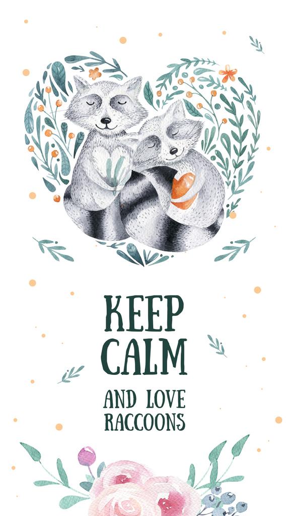 Embracing raccoons holding hearts — Створити дизайн