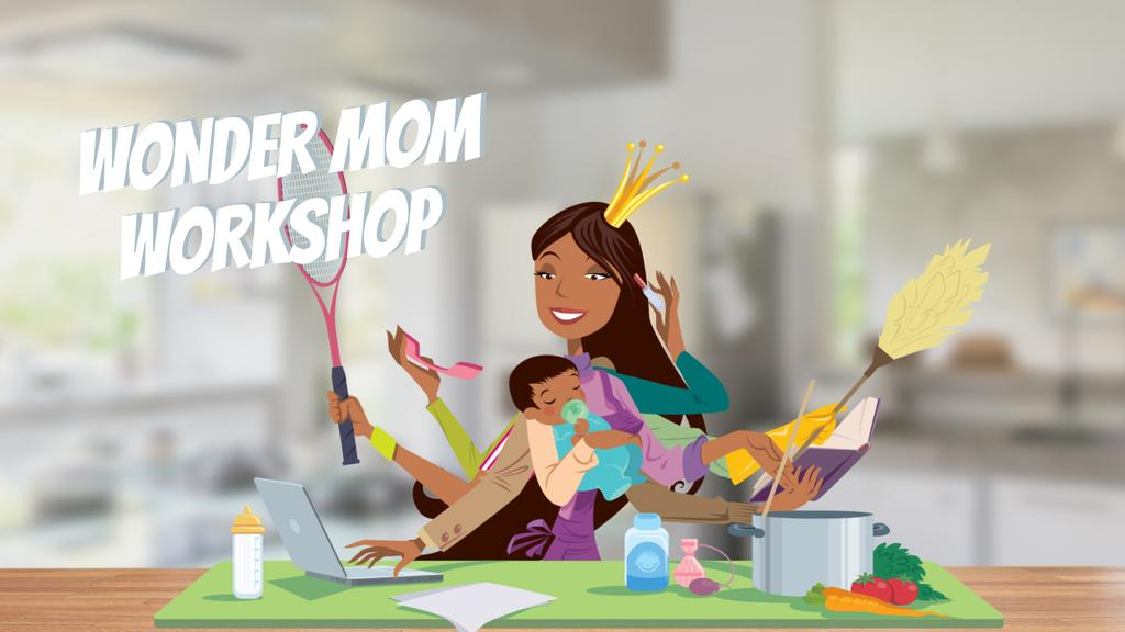 Multitasking wonder mom with baby — Modelo de projeto