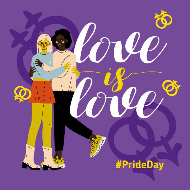 Two women hugging on Pride Day Instagram Design Template