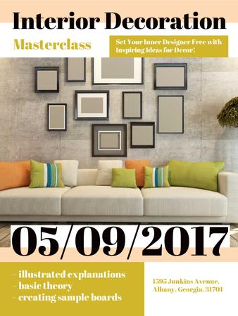 Interior decoration masterclass with Sofa in room Poster USデザインテンプレート