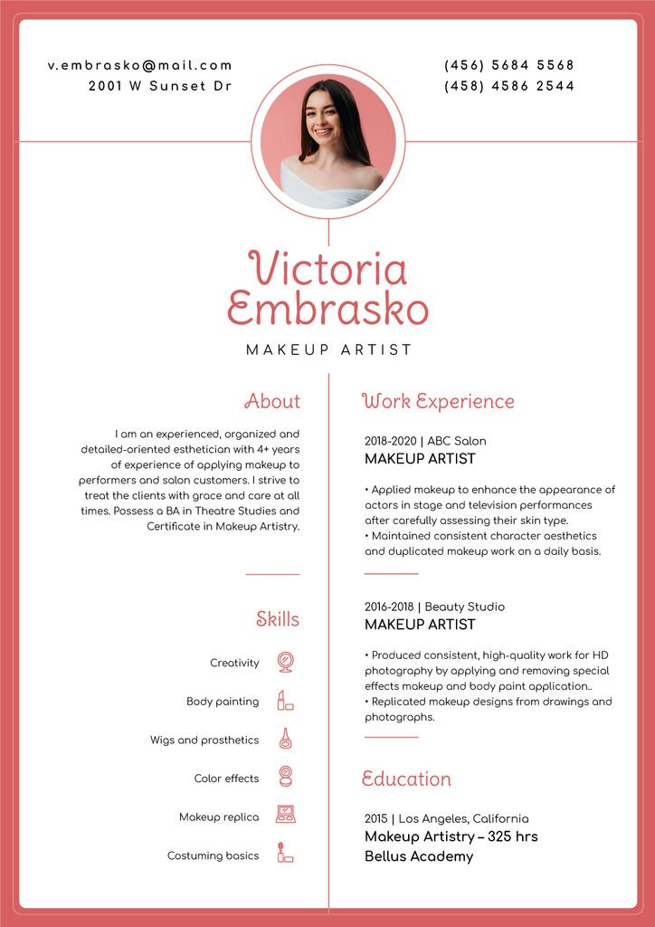 Modèle de visuel Makeup artist skills and experience - Resume