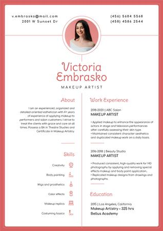 Template di design Makeup artist skills and experience Resume