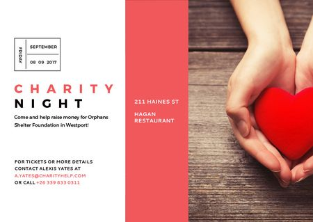 Plantilla de diseño de Charity event Hands holding Heart in Red Postcard