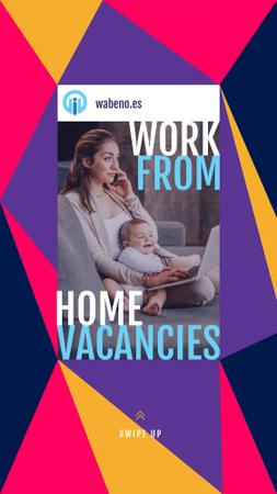 Designvorlage Remote Work Offer Woman with Baby Working on Laptop für Instagram Story