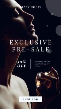 Dlack Friday Offer with Woman applying perfume