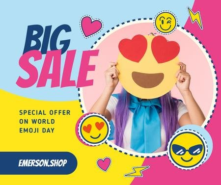 Modèle de visuel World Emoji Day Offer Girl holding Funny face - Facebook