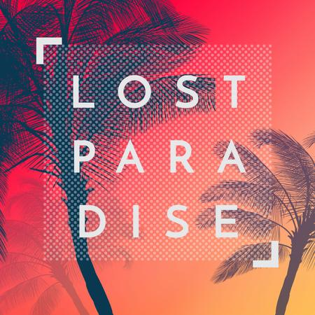 Summer Trip Offer Palm Trees in red Instagram AD Modelo de Design