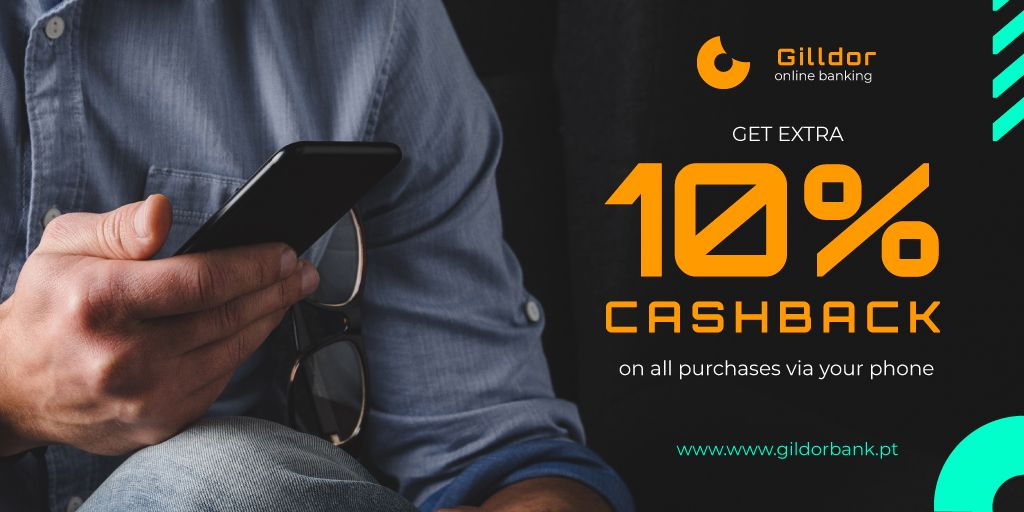 Cashback Services Ad with Man in Blue Shirt — Maak een ontwerp