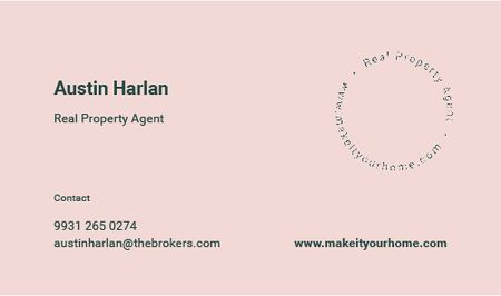 Real Property Agent Services Offer in Pink Business card Modelo de Design