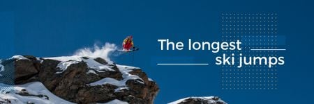 Skier jumping from rock Email header Modelo de Design